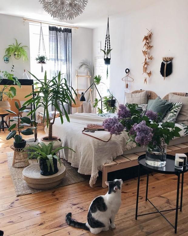 Decoração de quarto com plantas